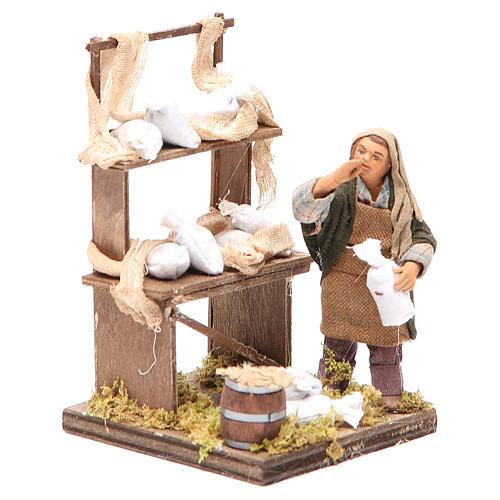 Venditore sacchi di farina con banco 10 cm presepe Napoli 3
