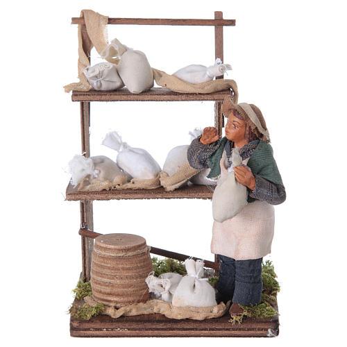 Venditore sacchi di farina con banco 10 cm presepe Napoli 5