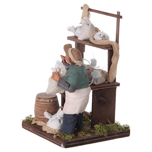 Venditore sacchi di farina con banco 10 cm presepe Napoli 6