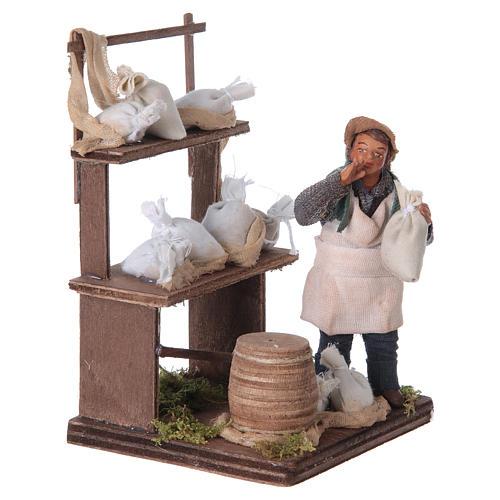 Venditore sacchi di farina con banco 10 cm presepe Napoli 7