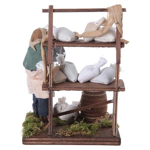 Venditore sacchi di farina con banco 10 cm presepe Napoli 8