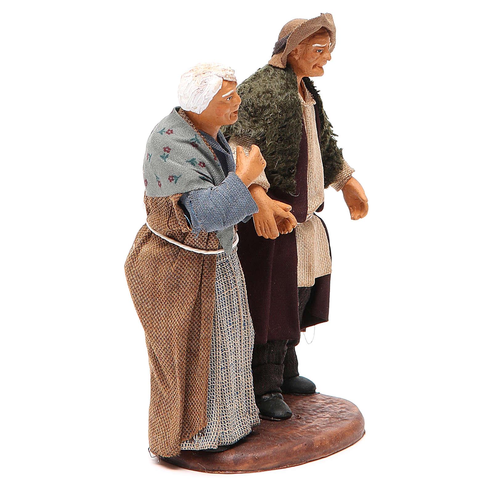 Couple de petits vieux main dans la main 12 cm crèche napolitaine 4