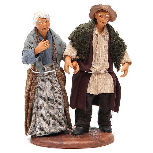 Couple de petits vieux main dans la main 12 cm crèche napolitaine 1