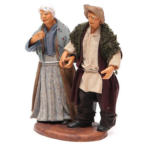 Couple de petits vieux main dans la main 12 cm crèche napolitaine 2