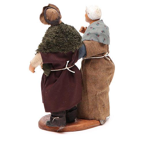 Couple de petits vieux main dans la main 12 cm crèche napolitaine 3