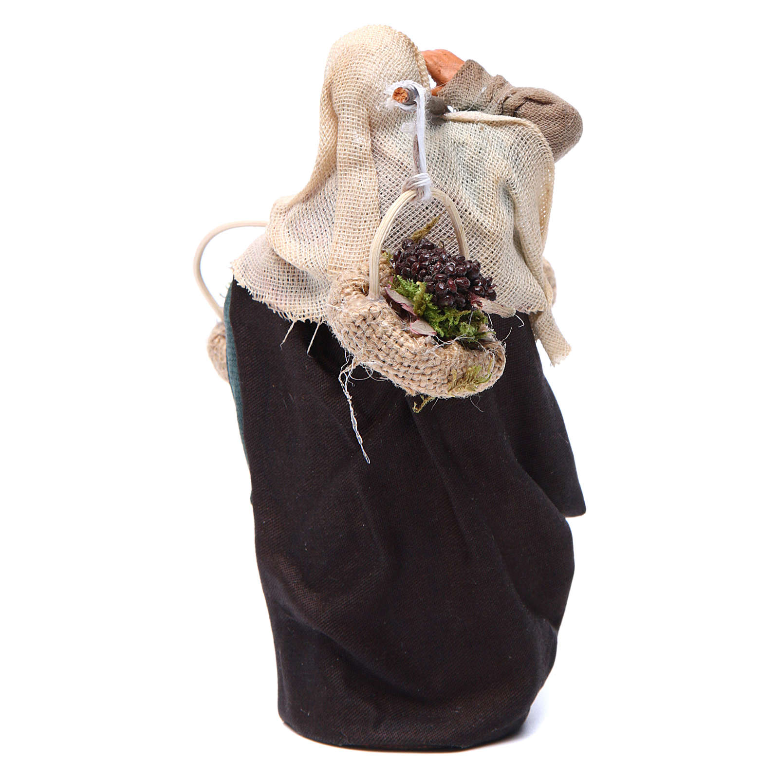 Viandante donna con tre cesti 12 cm presepe Napoli 4