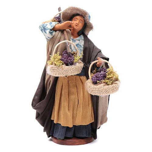Viandante donna con tre cesti 12 cm presepe Napoli 1