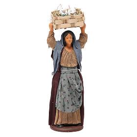 Mujer con casete conejos 14 cm belén napolitano s1