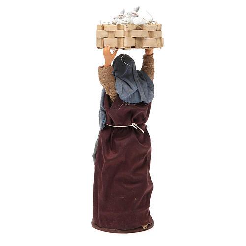 Mujer con casete conejos 14 cm belén napolitano 3
