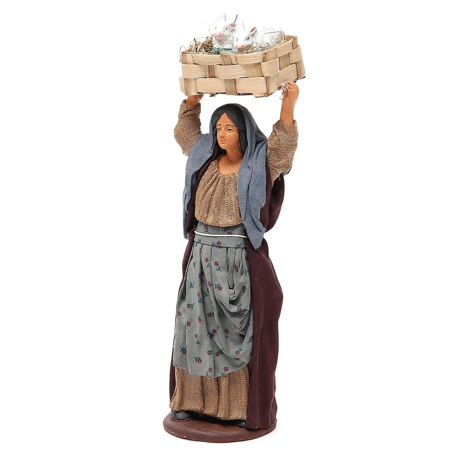 Femme avec caisse lapins 14 cm crèche napolitaine 4