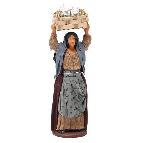 Femme avec caisse lapins 14 cm crèche napolitaine 1