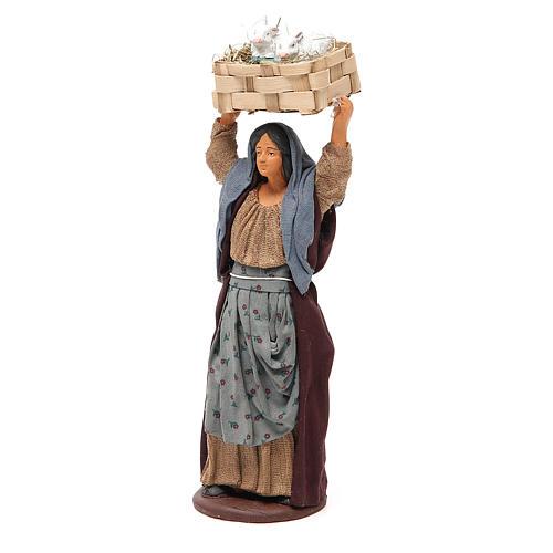 Femme avec caisse lapins 14 cm crèche napolitaine 2