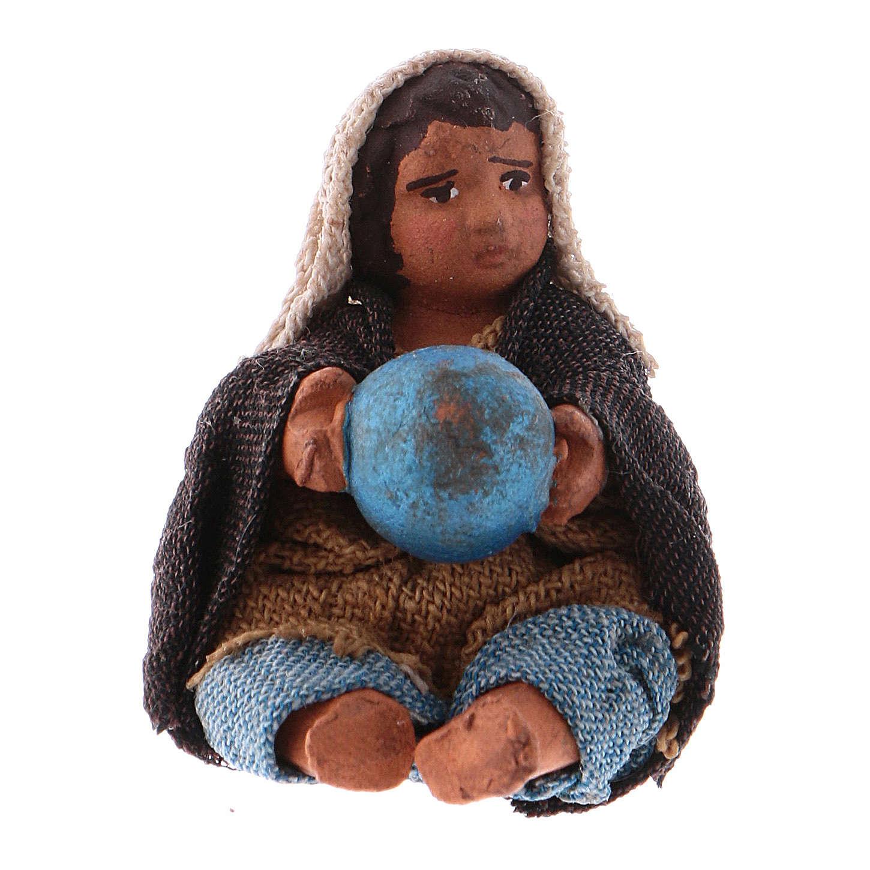 Enfant avec ballon assis 10 cm crèche napolitaine 4