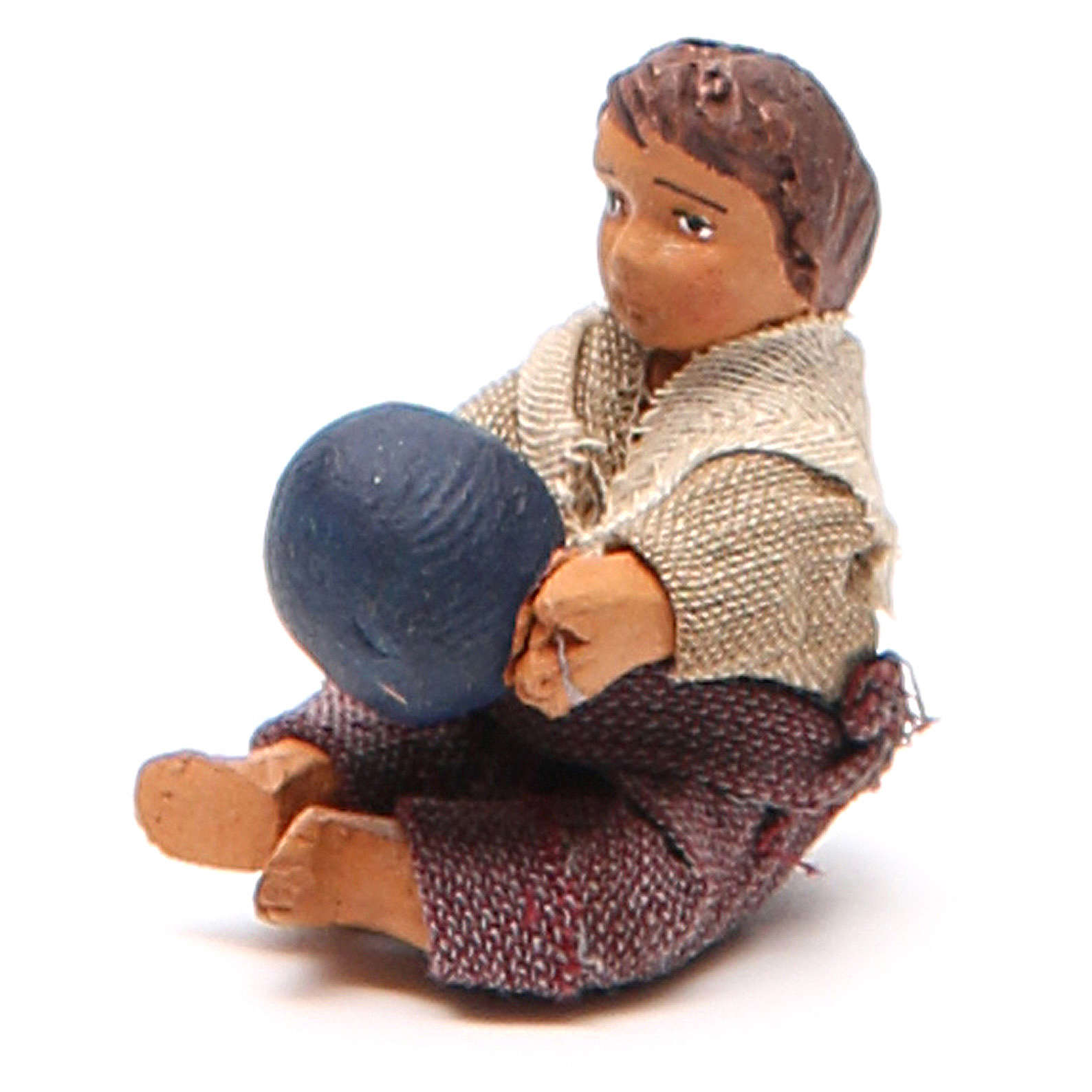 Fanciullo con palla seduto 10 cm presepe napoletano 4