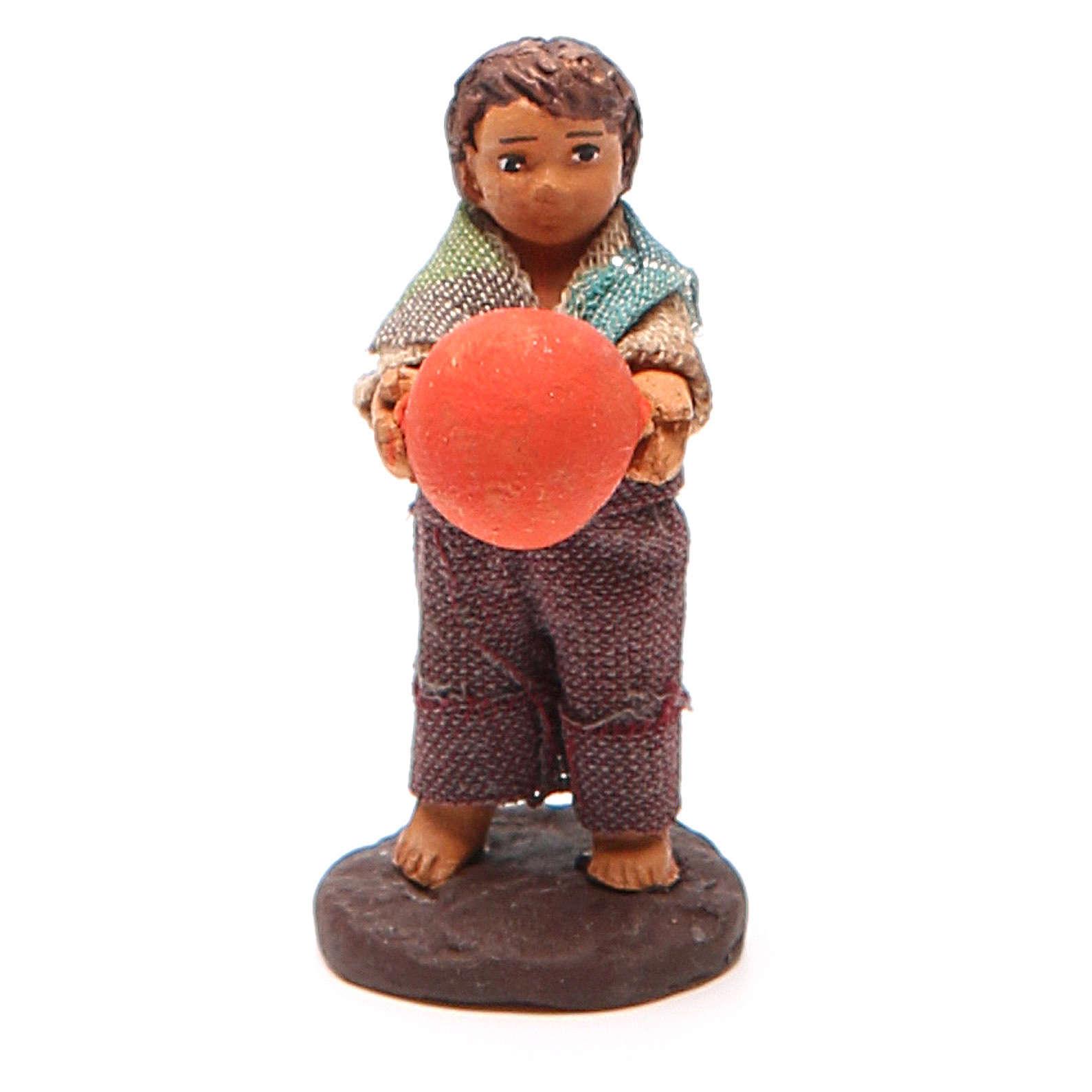 Fanciullo in piedi con palla 10 cm presepe Napoli 4