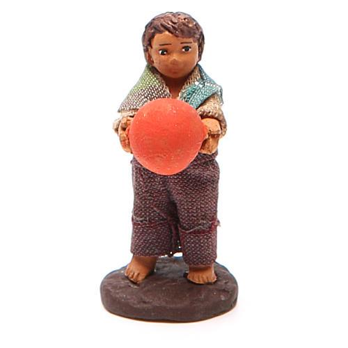 Fanciullo in piedi con palla 10 cm presepe Napoli 1