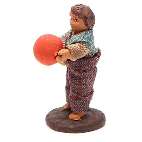 Fanciullo in piedi con palla 10 cm presepe Napoli 2