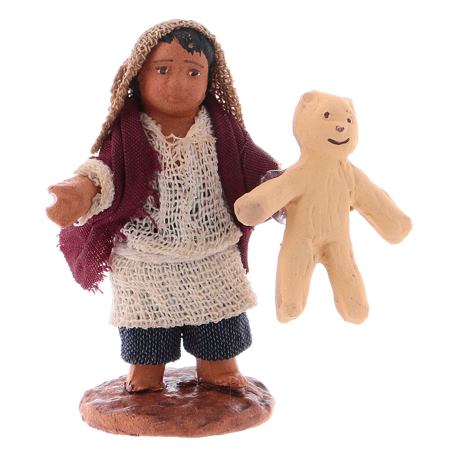 Little boy with teddybear 10cm neapolitan Nativity 4