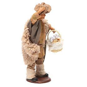 Hombre con sombrero y cesta ajo 14 cm belén s4