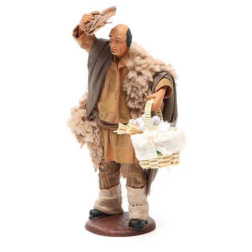 Hombre con sombrero y cesta ajo 14 cm belén 2