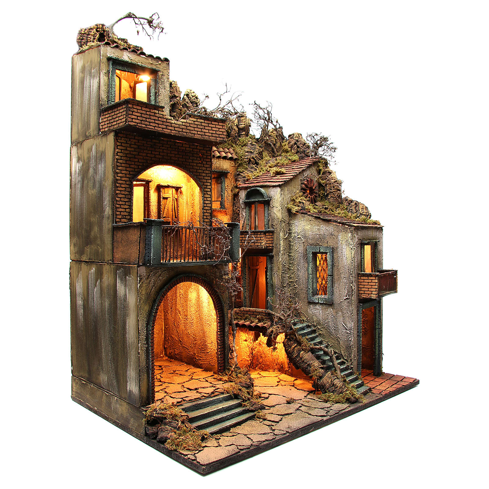 Borgo con capanna illuminato 110x80x58 cm presepe napoletano 4
