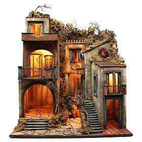 Borgo con capanna illuminato 110x80x58 cm presepe napoletano s1
