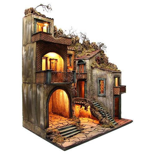 Borgo con capanna illuminato 110x80x58 cm presepe napoletano 3