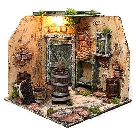 Scène pressoir 28x26x24 cm décor crèche napolitaine s2