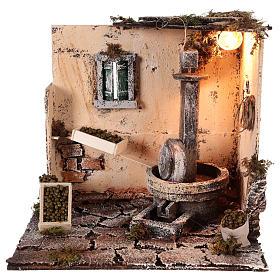 Neapolitan Nativity Scene: Olive oil mill scenery 28x26x24cm neapolitan nativity
