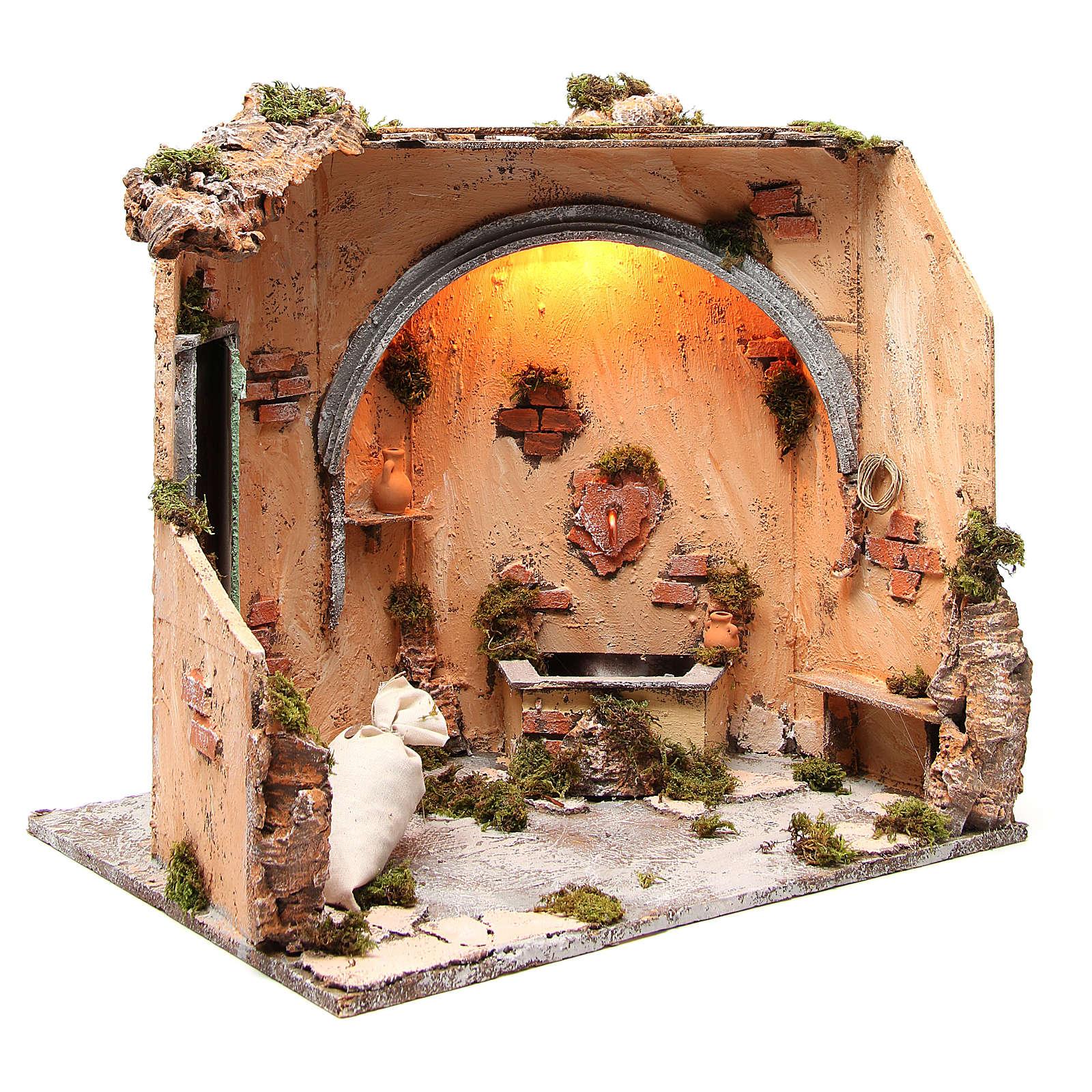 Basement scenery 40X40X40 cm Neapolitan Nativity 4