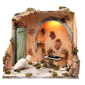 Basement scenery 40X40X40 cm Neapolitan Nativity s1