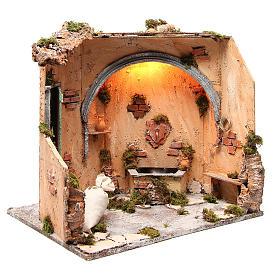 Scène fontaine 40X40X40 cm décor crèche napolitaine s3