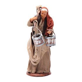 Neapolitan Nativity Scene: Milk seller with wooden buckets for Neapolitan Nativity, 14cm