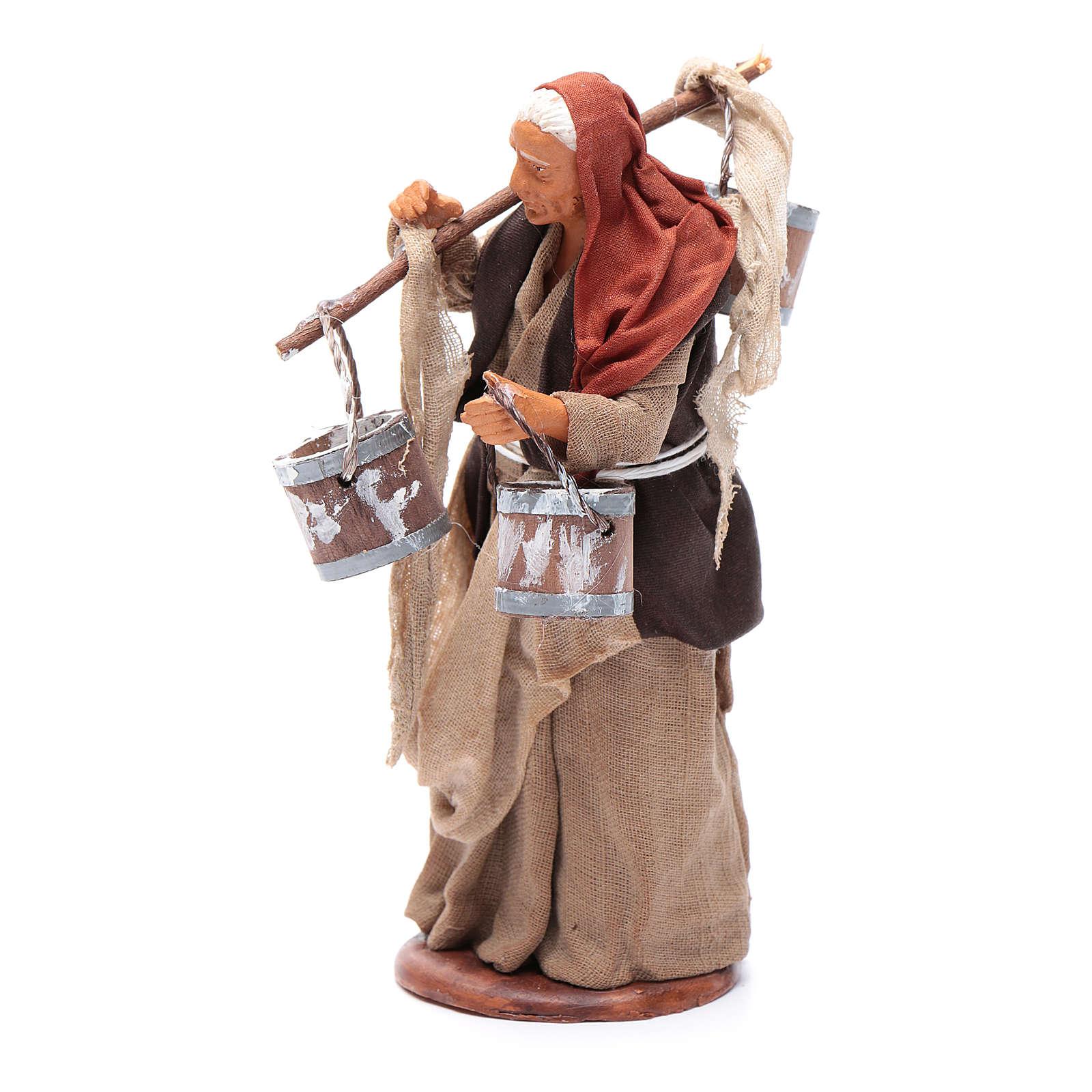 Milk seller with wooden buckets for Neapolitan Nativity, 14cm 4