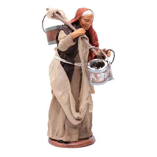 Milk seller with wooden buckets for Neapolitan Nativity, 14cm 3