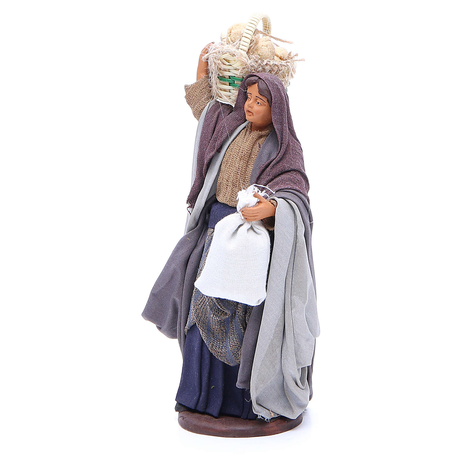 Woman with bread basket holding bag for Neapolitan Nativity, 14cm 4
