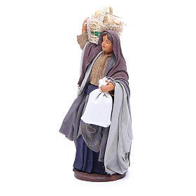 Woman with bread basket holding bag for Neapolitan Nativity, 14cm s2