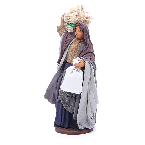 Woman with bread basket holding bag for Neapolitan Nativity, 14cm 2