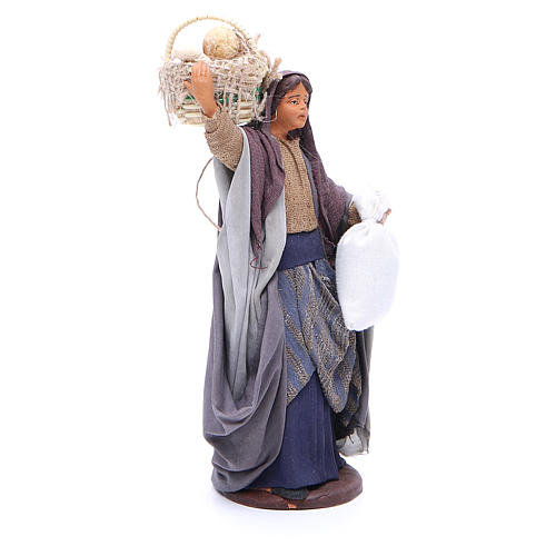 Woman with bread basket holding bag for Neapolitan Nativity, 14cm 3