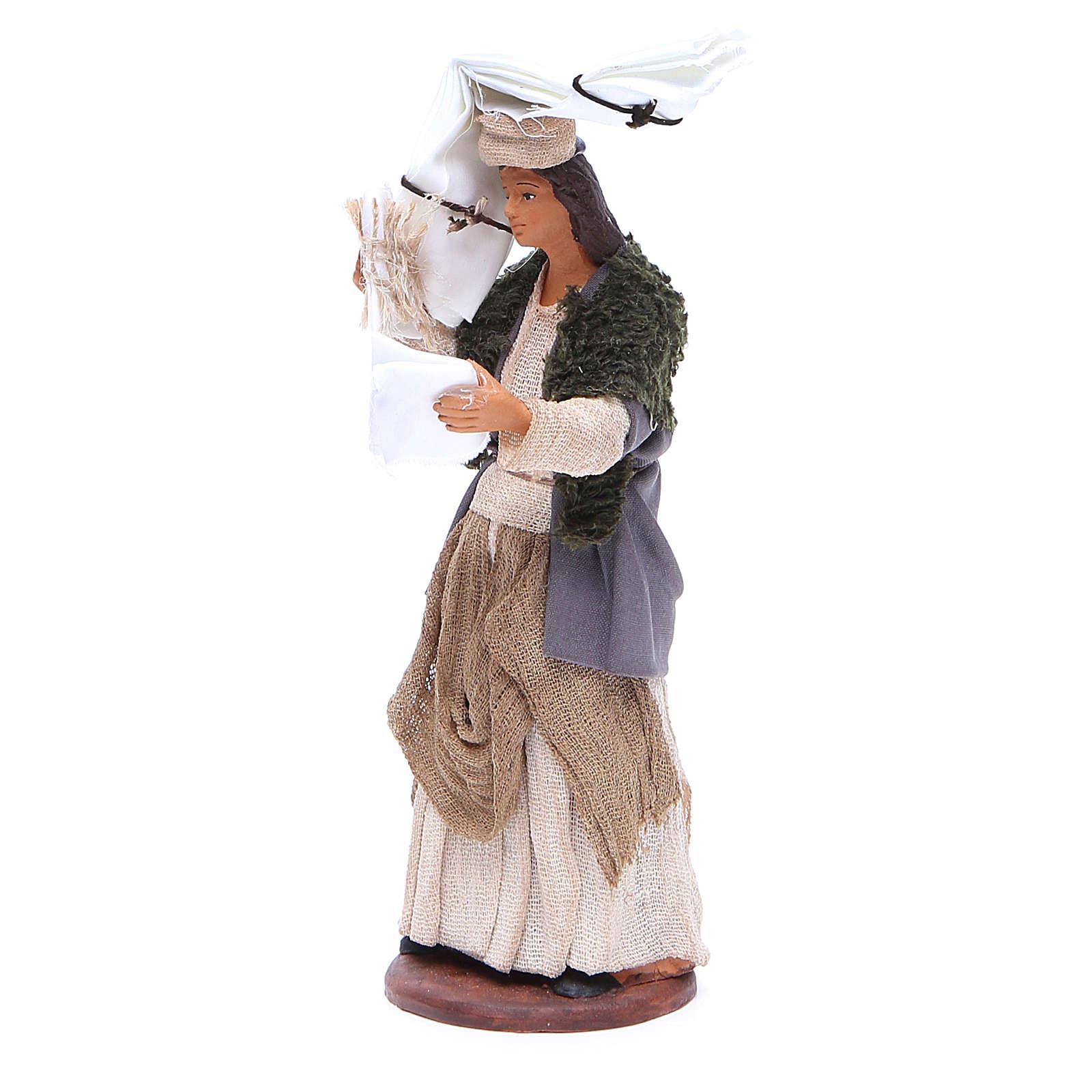 Donna fazzoletti testa e mano 14 cm presepe napoletano 4