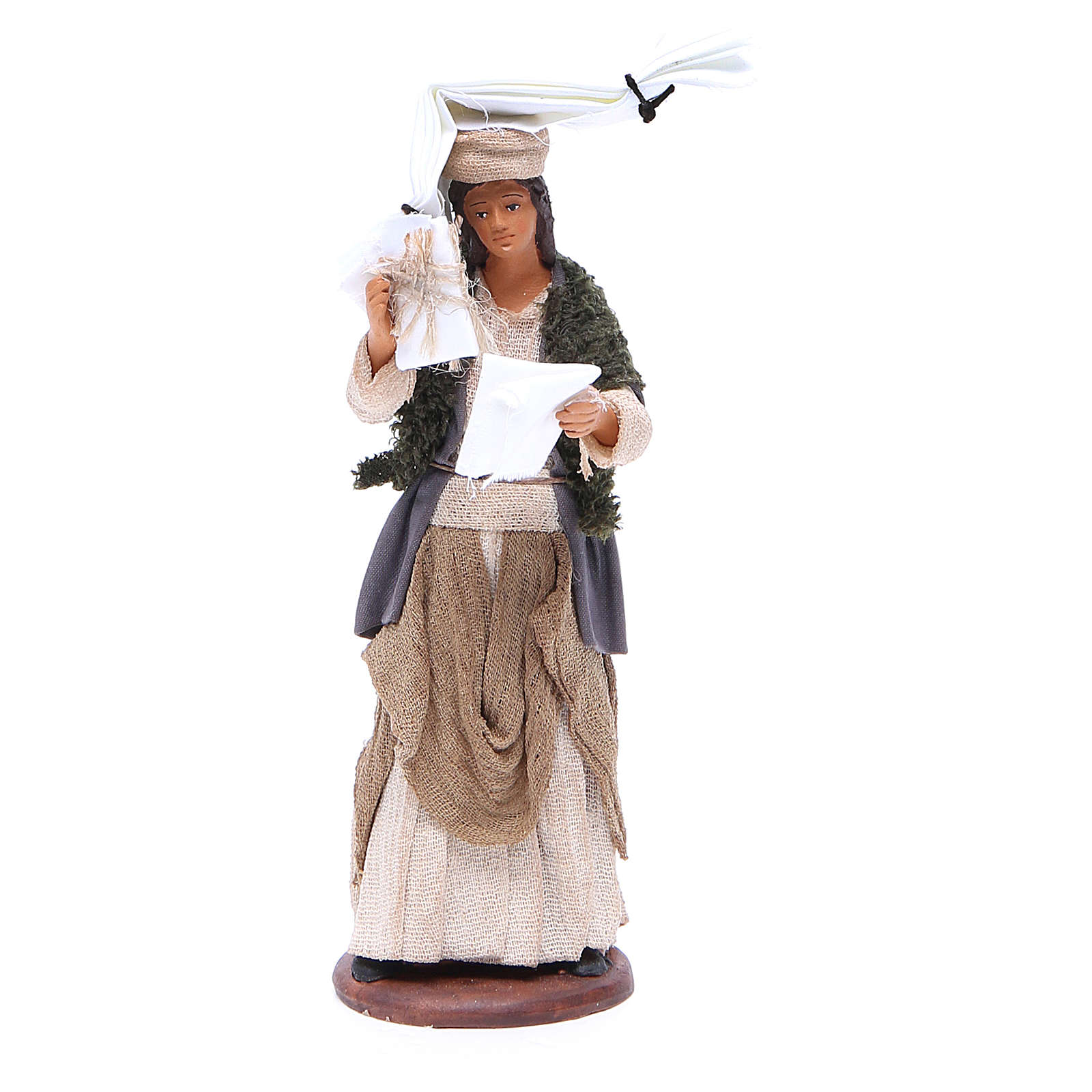 Woman with handkerchiefs on head and in hand for Neapolitan Nativity, 14cm 4
