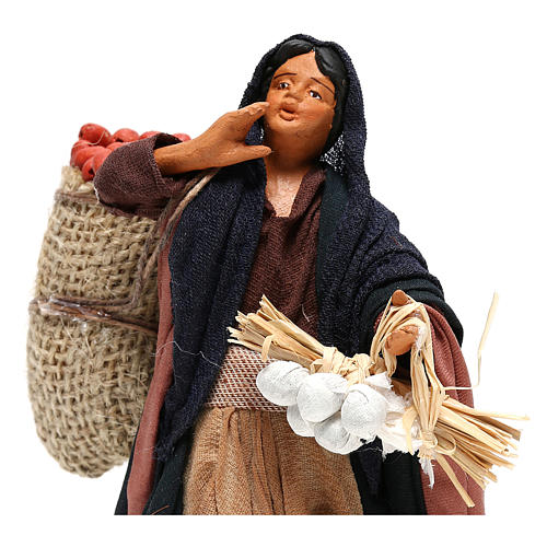 Woman holding sack of apples and log for Neapolitan Nativity, 14cm 2
