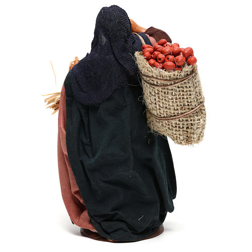 Woman holding sack of apples and log for Neapolitan Nativity, 14cm 5