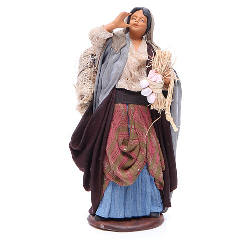 Mujer saco manzanas y tronco en mano 14 cm belén Nápoles 1