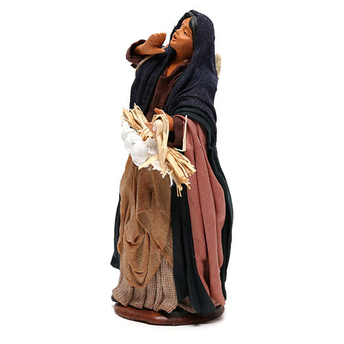 Mujer saco manzanas y tronco en mano 14 cm belén Nápoles 3