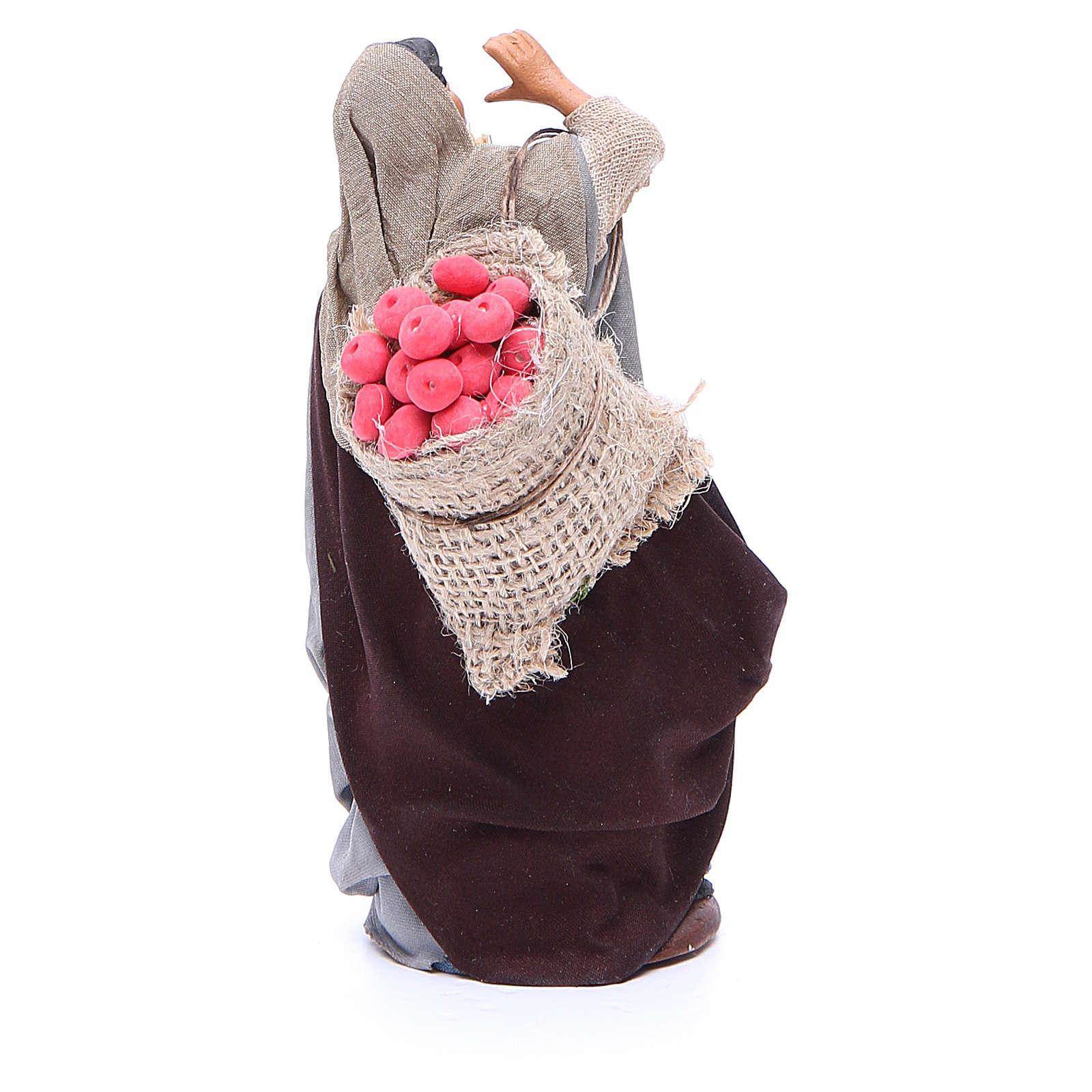 Donna sacco mele e ceppo in mano 14 cm presepe Napoli 4