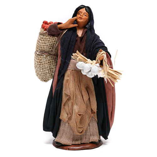 Donna sacco mele e ceppo in mano 14 cm presepe Napoli 1