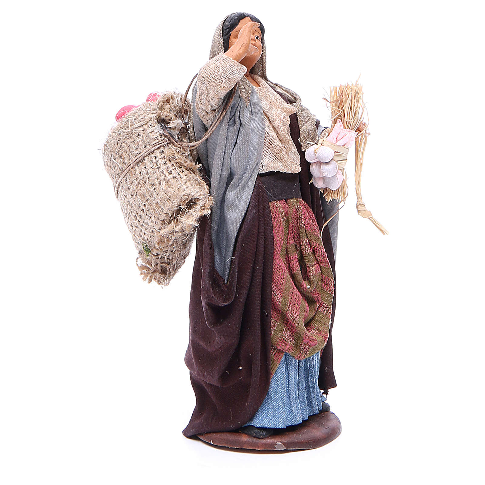 Woman holding sack of apples and log for Neapolitan Nativity, 14cm 4
