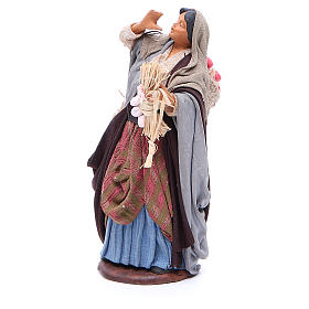 Woman holding sack of apples and log for Neapolitan Nativity, 14cm s2