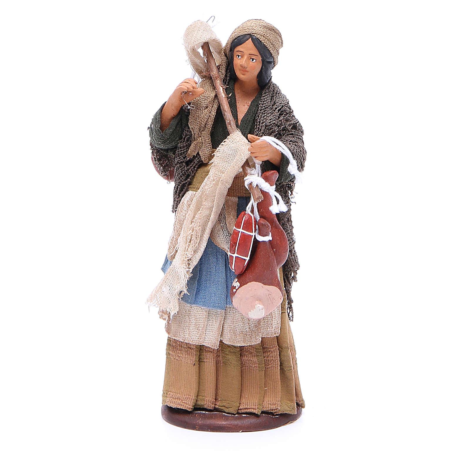 Wayfarer woman with cured meats for Neapolitan Nativity, 14cm 4